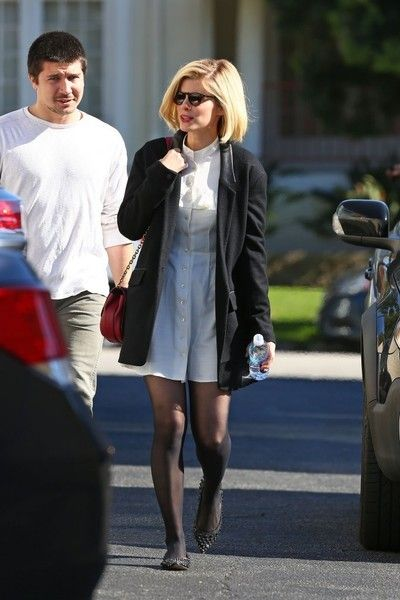 Kate Mara Mini Dress - Kate Mara donned a white button-up mini dress for a visit to a casting office.