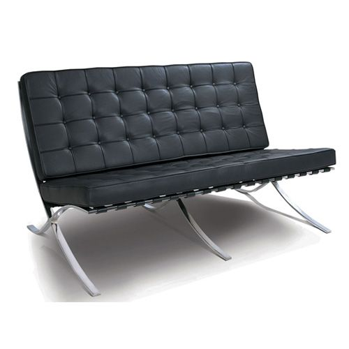 Black Leather 2 Seater Barcelona Style Sofa