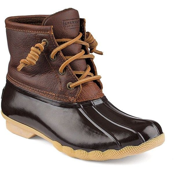 Sperry Top-Sider Saltwater Leather Boots ($120) ❤ liked on Polyvore featuring shoes, boots, brown, leather shoes, leather boots, brown boots, round toe boots and brown shoes