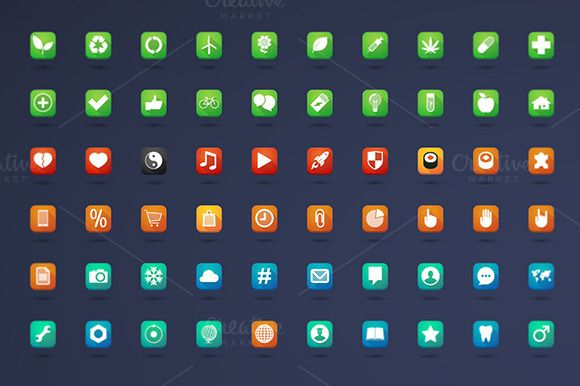200 long shadow square icons by Blablo on Creative Market