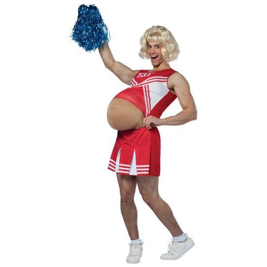 Zwanger cheerleader kostuum. Dit grappige kostuum bestaat uit een bodysuit, topje en rokje. Leuk voor carnaval! One size kostuum, ongeveer M/L. Carnavalskleding 2015 #carnaval