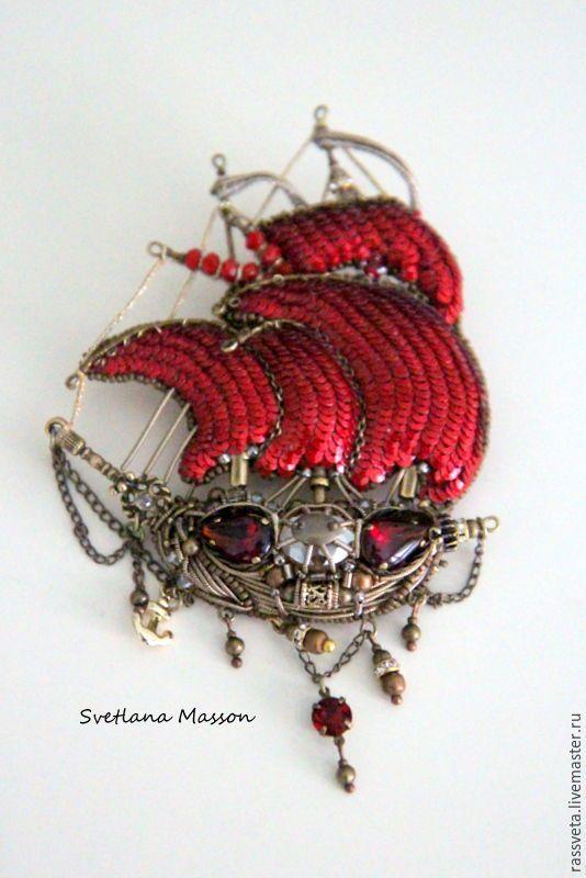 Купить Парусное судно галеон ,,Секрет,, - ярко-красный, алые паруса, алый