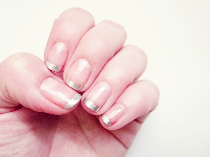 Simple Silver Tip Nails- This is what I want to get tomorrow.