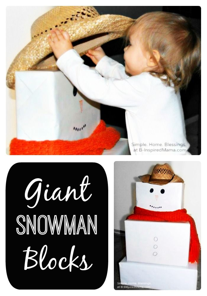 Make Giant Snowman Blocks for the Kids at B-Inspired Mama - I LOVE this idea! We are going to tweak it though. I am going to make eyes, noses, mouths, and buttons out of card stock, and put velcro on the blocks, and the backs of the accessories, so that my preschooler can decorate the snowman herself. You could also use felt, felt board style, to cover the boxes, and make the body parts/ buttons.