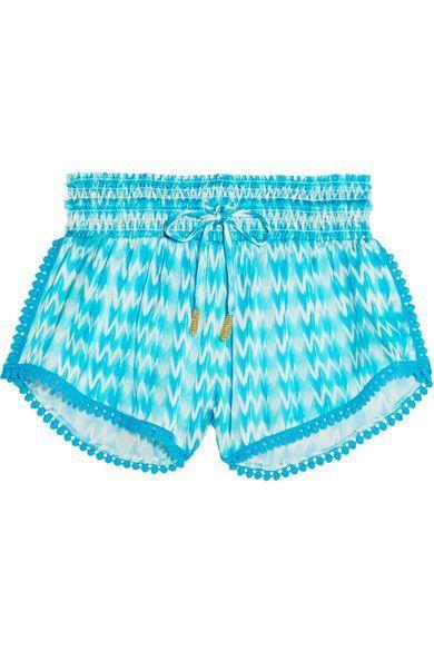 Paloma Blue - Paloma Printed Silk-satin Shorts - Turquoise - medium