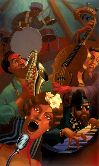 Jazz Quintet by BUA - Original in Private Collection - #ART #JAZZ #MUSIC                                                                                                                                                                                 More
