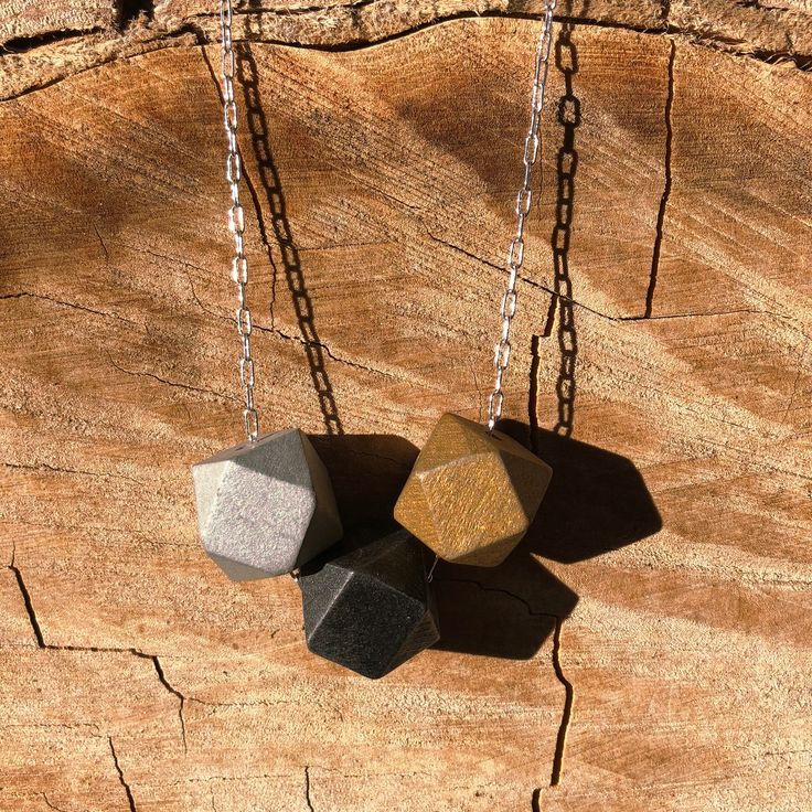 Minimalist Silver Chain and Wood Block Geometric Necklace; Metallic Statement Necklace; Unique Gold, Silver and Black Necklace; Gift for Her