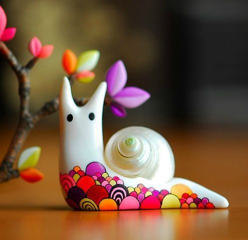 A snail in polymer clay