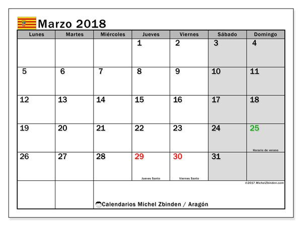 Calendario para imprimir gratis marzo 2018, con los días festivos de Aragón. Calendario mensual.