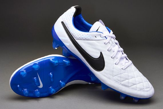 Nike Football Boots - Nike Tiempo Legend V Reflective FG - Firm Ground - Soccer Cleats - White-Black-Treasure Blue