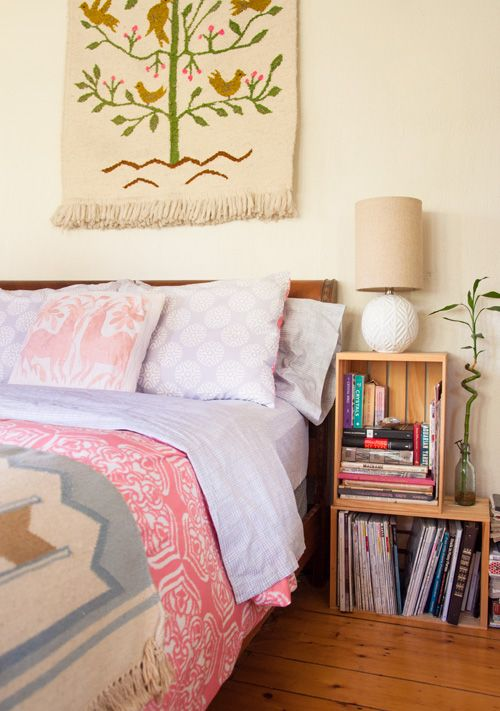 Touring Musicians Build a Beautiful Home Base in Kingston --- Textile above bed.