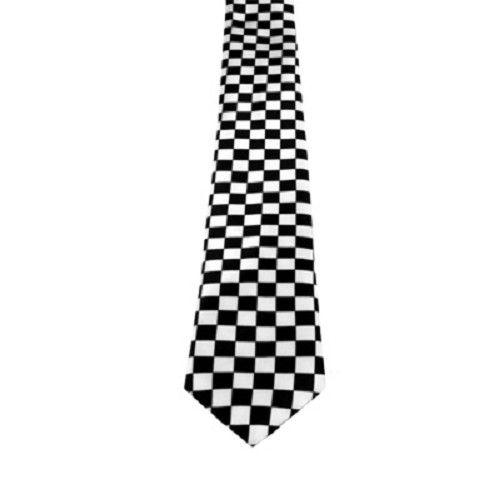 Stropdas met geblokt patroon zwart/wit - Punk Emo