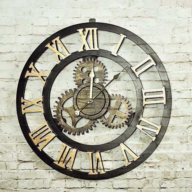Check current price 2 Colors Retro Oversize Decor Wall Clock  Large Hollow Hanging Artistic Roman Number Quartz Wall Clock For Living Room Shop just only $23.99 with free shipping worldwide  #clocks Plese click on picture to see our special price for you