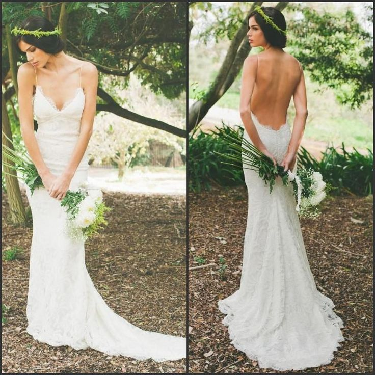 Trending  Full Lace Beach Wedding Dresses Hot Style Backless Open Back Spaghetti Straps V Neck Sexy Sheath Wedding Dress New