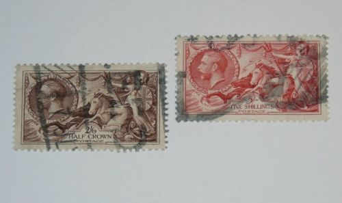Stamp Pickers Great Britain 1934 KGV Seahorses Lot Scott #222-223 VFU $85+