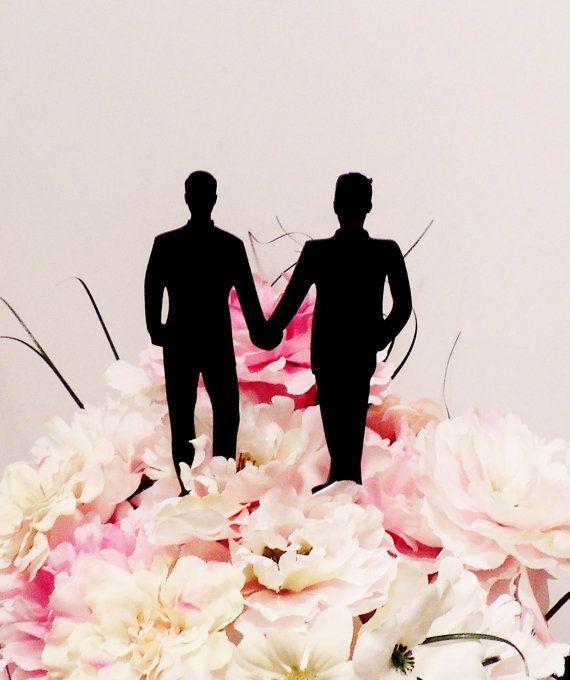 Fashion Forward Gay Men Wedding Cake by YourPersonalEngraver