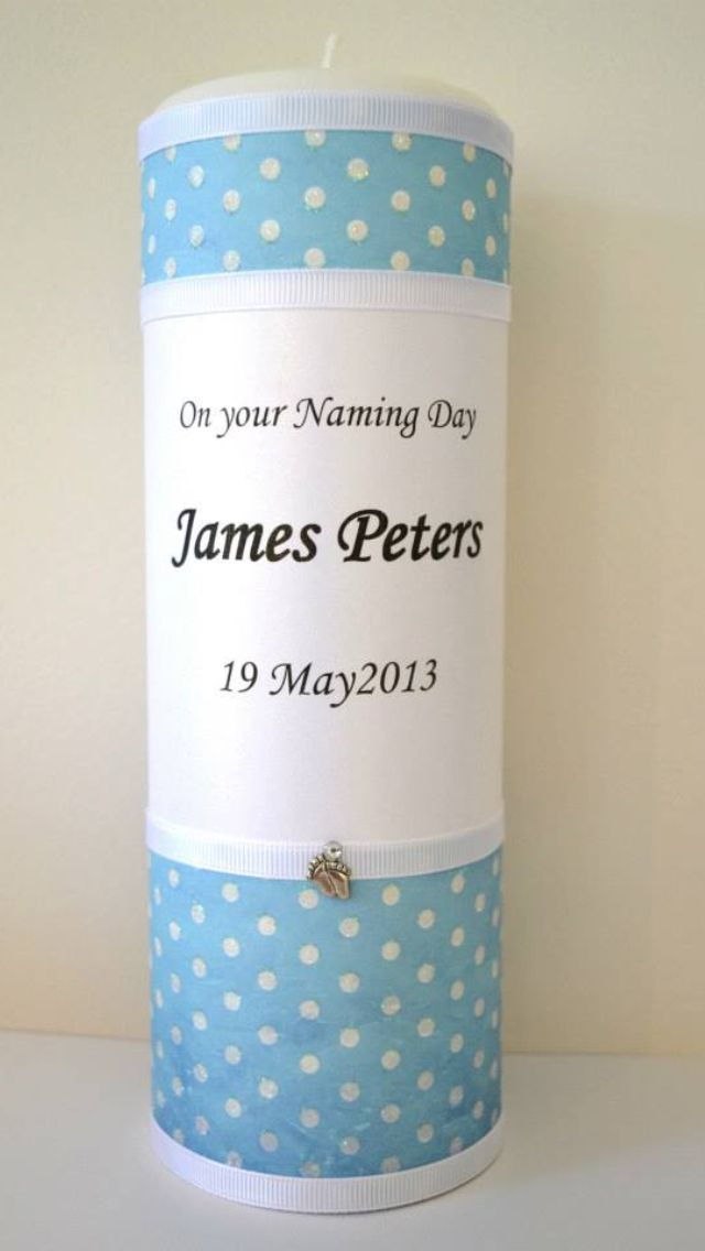 Gorgeous boys blue polka dot Christening/Naming Day Candle. Trimmed with white ribbon and silver feet with diamanté. This can be personalised with any name or date for any occasion. Custom design by Flickering Moments Candle & Gift Design.