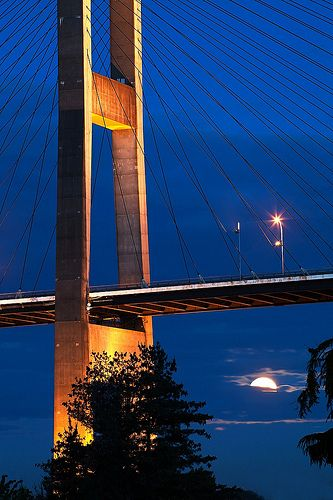 The Alex Fraser Bridge (also known as the Annacis Bridge) is a cable-stayed bridge over the Fraser River and connects Richmond and New Westminster with North Delta in Greater Vancouver, British Columbia.