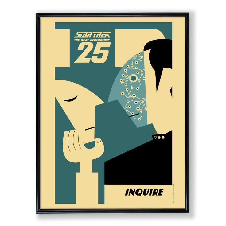 """Framed 24""""x36"""" TNG 25th Anniversary Limited Edition Poster – INQUIRE (Data): Tng 25Th, Picture-Black Posters, Inquir Data, 25Th Anniversaries, Stars Trek, Startrek, Editing Posters, 25Th Anniversary, Star Trek"""