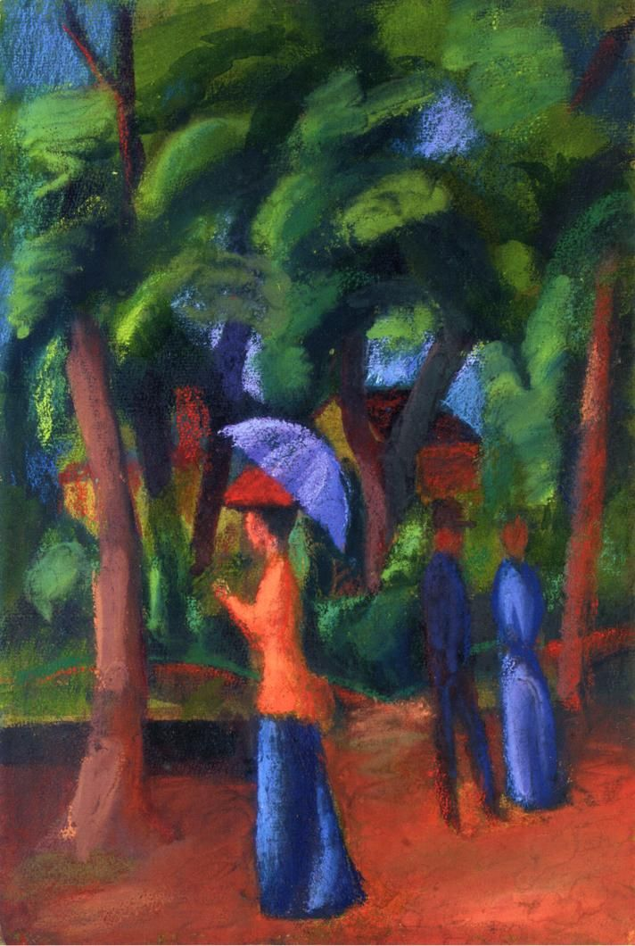 August Macke (1887 – 1914) was one of the leading members of the German Expressionist group Der Blaue Reiter (The Blue Rider) 1914+Walking+in+the+Park+gouache,+watercolour,+pastel+&+gum+arabic+on+paper+44.5+x+29.9+cm.jpg (712×1060)