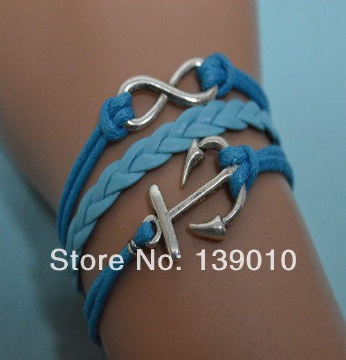 2013 новое поступление ручной работы обертывание манжеты ювелирные изделия синяя кожаная веревка сплав серебра бесконечность якорь женщины мужчины браслет браслеты подарок