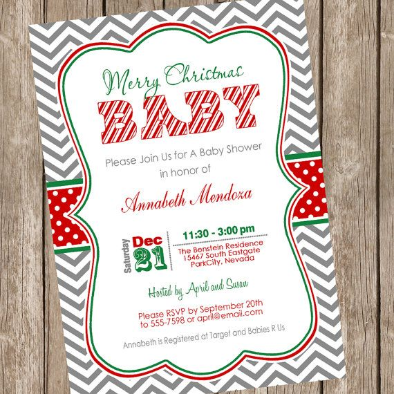 Christmas Baby Shower Invitation, baby shower invitation, holiday baby shower, red, green, grey, chevron, printable, digital file