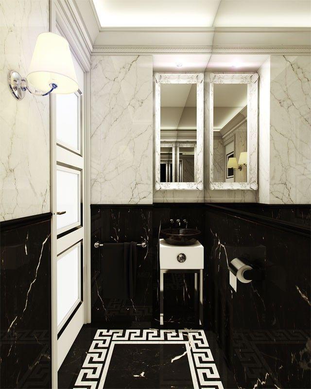 Willa zaprojektowana została na wzór pałacu włoskiego, w nowoczesnej odmienionej formie. Łazienka wykończona jest białym i czarnym marmurem z ornamentem na podłodze.