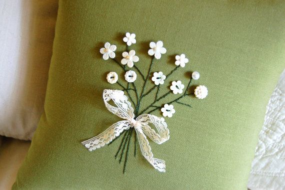 Decorative Pillow Floral Button Bouquet Hand by AThymetoSew