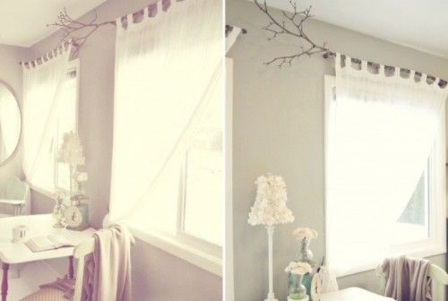 Shabby in love: Curtain rods of tree branches