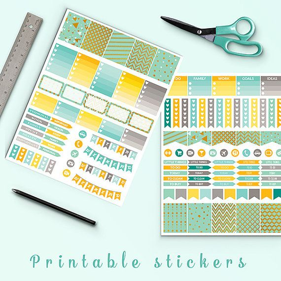Mint And Gold Planner Stickers -  http://etsy.me/2dmzjQP Mint and gold planner stickers pack is perfect for create handmade planners, stationery, greeting cards, craft items and much more.
