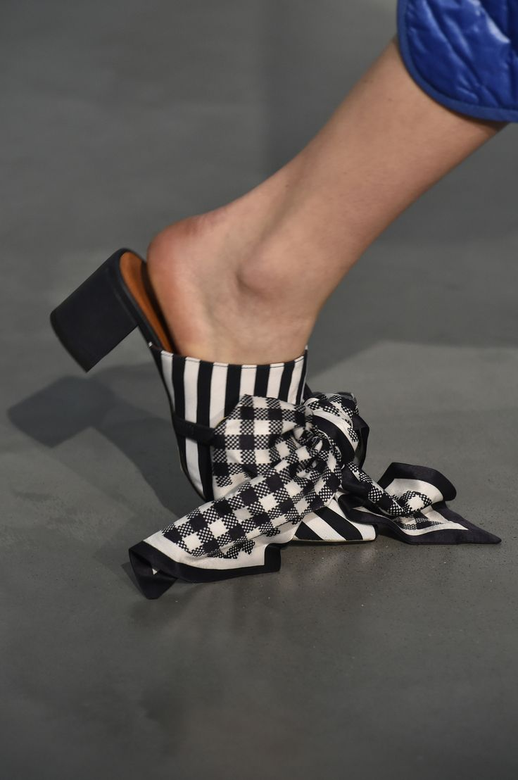 COURTNEY MULE made from navy and white striped cotton, with luxurious silk scarves looped at the front. #motherofpearl #pearlyqueen #ss18 #shoes