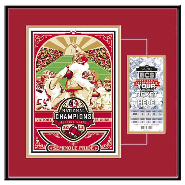 Florida State Seminoles (FSU) 2013 National Football Champions Sports Propaganda Screen Print Ticket Frame - $95.99
