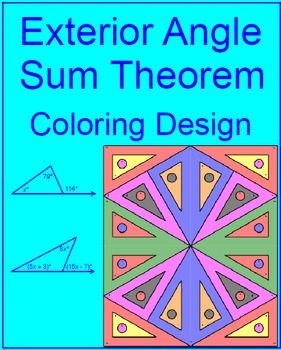 This is a coloring activity for a set of 12 problems on the exterior angle sum theorem.  The exterior angle is equal to the sum of the two remote interior angles.  Problems 1 - 6 are easy and problems 7 - 12 are challenging where algebra is reinforced.This product is included for free in the triangle activity bundle.Posted:   9/22/15 so 50% off through 9/25/15
