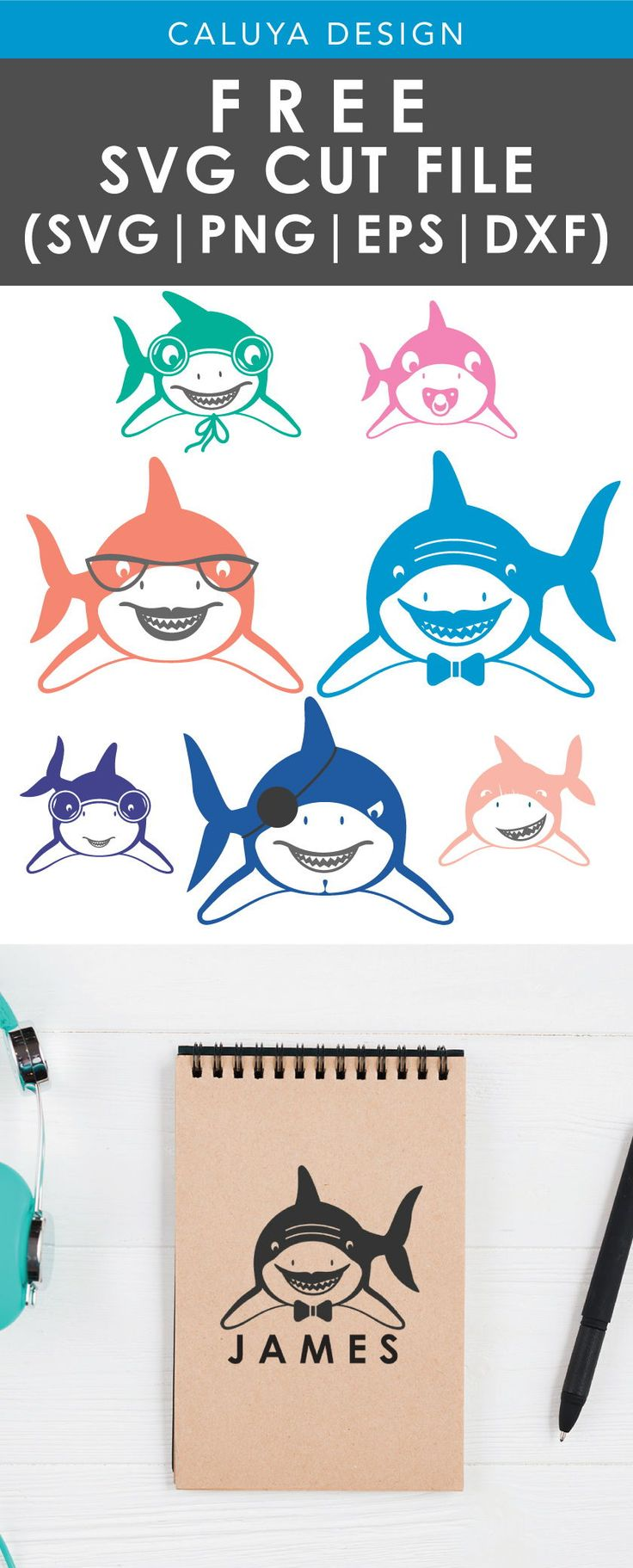 Free Shark Family SVG, PNG, EPS & DXF by