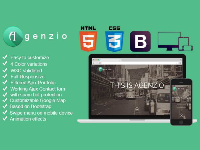 AGENZIO is a multipurpose and responsive One Page HTML5 / CSS3 template. Features: Clean and simple…