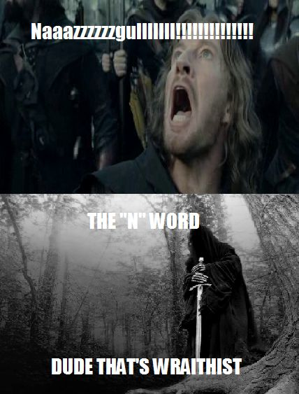 Hehe! Got to love lord of the rings humor;)