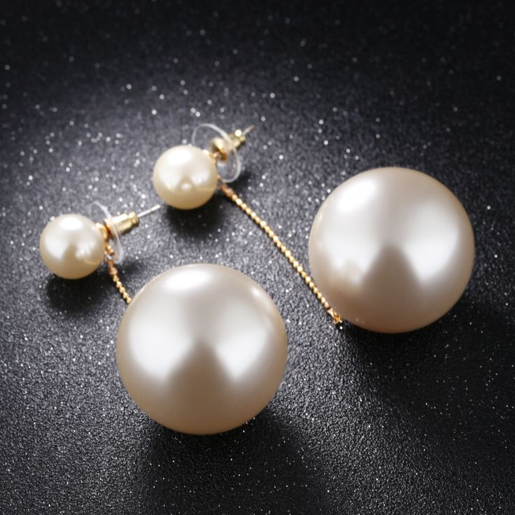 Elegant Big And Small Pearls Chain Earrings Womens Simple Gold Plated Copper Chain Drop Earrings Wedding Jewelry_BEBESAY.COM