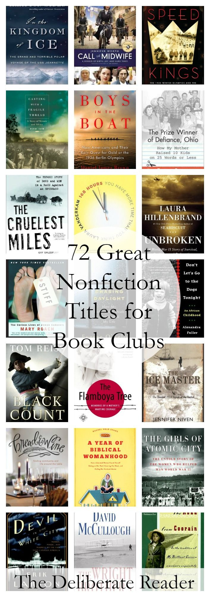 72 suggested nonfiction titles for great book club discussions. Part of Booked {Reading Together}, a month-long series about book clubs.