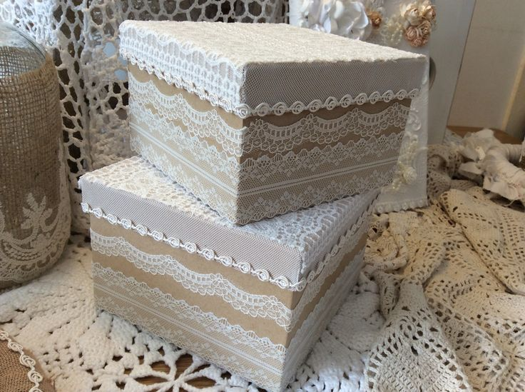 Beautiful keepsake boxes decorated with lace! Available in my etsy shop!