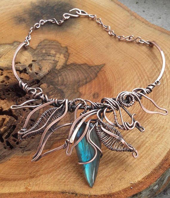 Wire fairy necklace with beautiful  Labradorite  stoneFairy