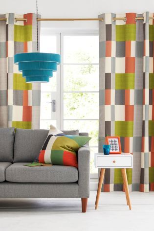 Buy Multicoloured Block Print Eyelet Curtains Studio Collection By Next from the Next UK online shop