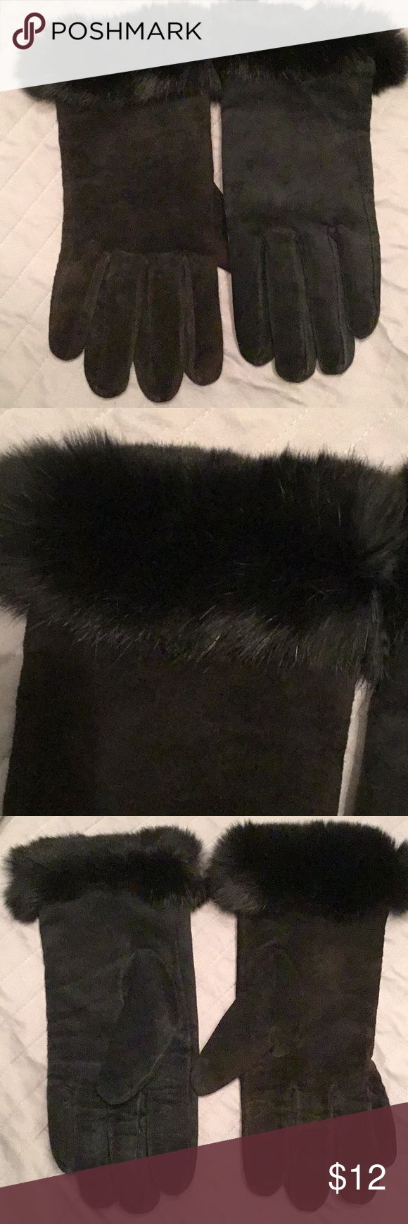 Beautiful Black Suede Gloves w/ Rabbit Fur Gorgeous black suede gloves with rabbit fur, very gently worn and in very good condition, ladies size large, price firm. Thinsulate Accessories Gloves & Mittens