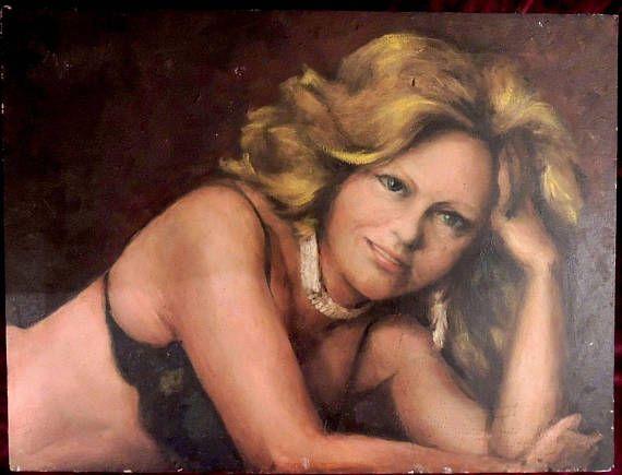 Retro Oil Portrait Pretty Woman Lingerie Kitsch Painting 1980s