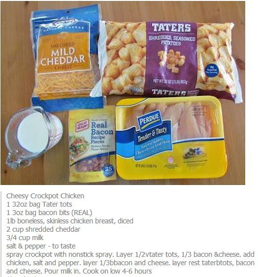 Cheesy CrockPot Chicken  Holy hell this sounds good! I'm def trying this tomorrow!!!