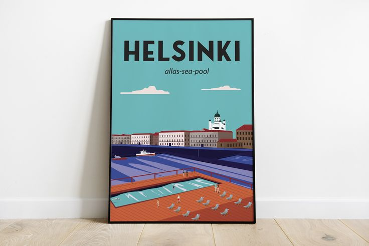 Helsinki Finland travel poster | Home & Living| Wall Décor Sizes: (inches) 8×10 12×16 18×24 24×36
