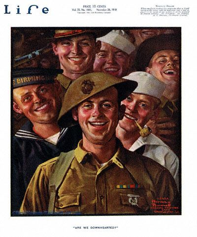 """""""Are We Downhearted?"""" 11/28/1918 aka. """"""""Group of Smiling Soldiers' Faces by Norman Rockwell for Life Magazine, cover"""