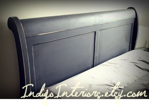 Distressed Black Queen Size Sleigh Bed Queen Size Beds