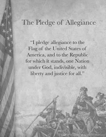 The words to the Pledge of Allegiance written on parchment, alongside an American flag, with a background image of Washington crossing the Delaware River.