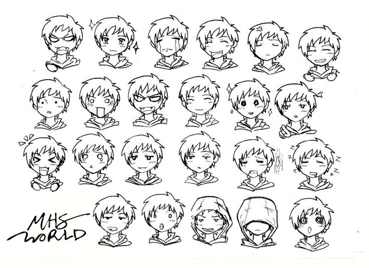 Anime, Chibi Face Expressions, Boy