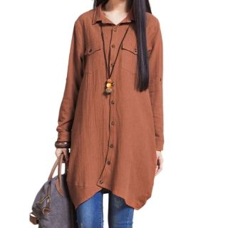 Korean+Style+Casual+Loose+Quality+Asymmetric+Cotton+Lapel+Collar+Long+Sleeve+Female+Cardigan+Shirt+Dark+Khaki+XL